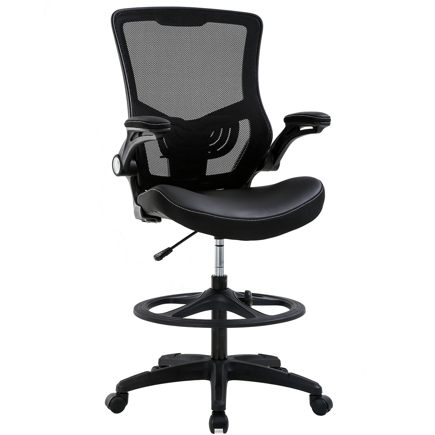 Image of: Drafting Chair Ergonomic Tall Office Chair With Flip Up Arms Foot Rest Back Support Adjustable Height Mesh Drafting Stool For Standing Desk Black Walmart Com Walmart Com