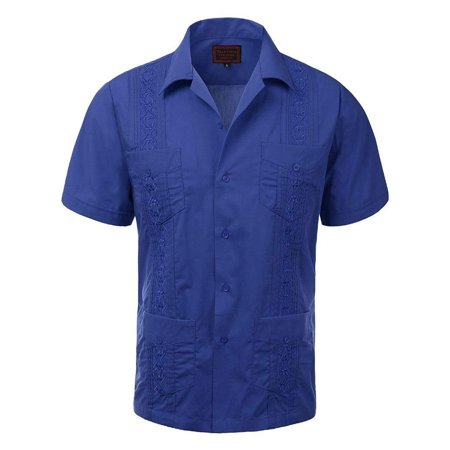 Men's Guayabera Embroidered Cuban Beach Wedding Short Sleeve Button up Casual Dress Shirt Royal Blue