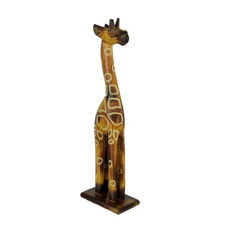 Hand Crafted Wood Burned Finish Standing Giraffe Statue