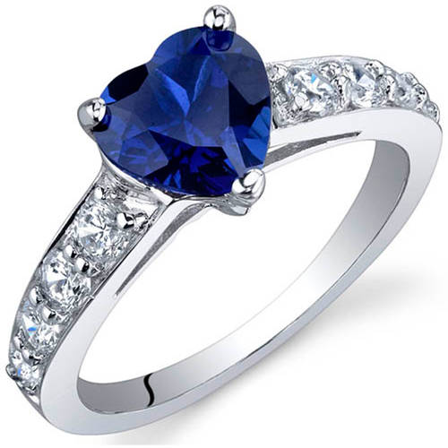 Oravo 1.75 Carat T.G.W. Created Blue Sapphire Rhodium-Plated Sterling Silver Engagement Ring