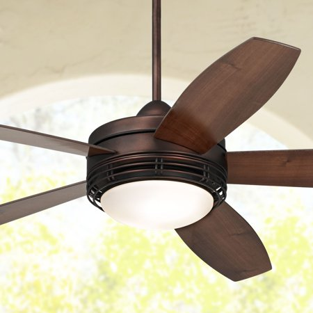 60 Casa Vieja Modern Outdoor Ceiling Fan With Light Remote Control Oil Rubbed Bronze Opal