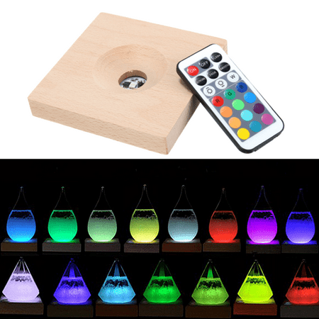 RGB LED Base For Weather Forecast Crystal Drop Water Shape Storm Glass Christmas
