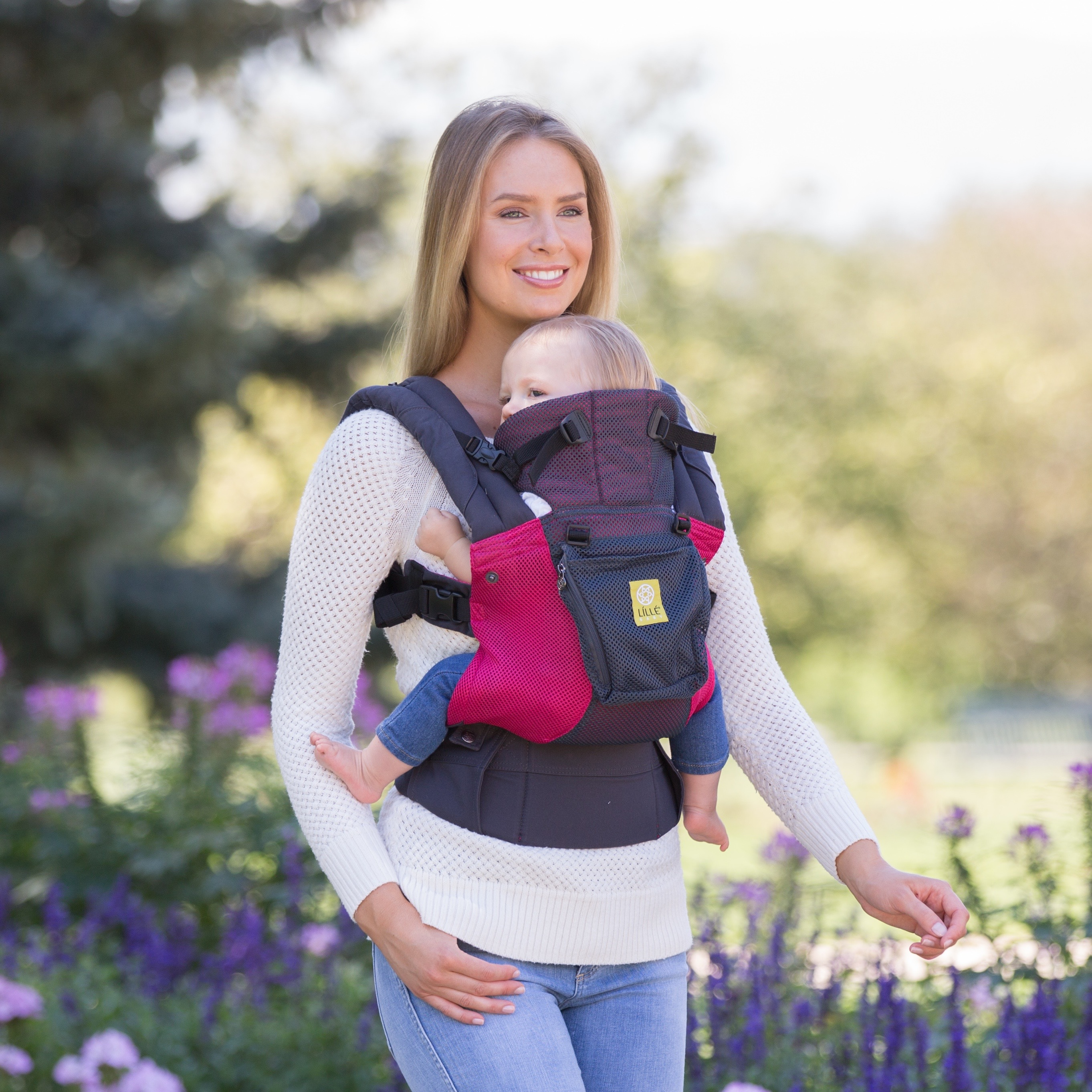 fa7810b89ac LILLEbaby Airflow Baby Carrier - Charcoal with Berry - Walmart.com