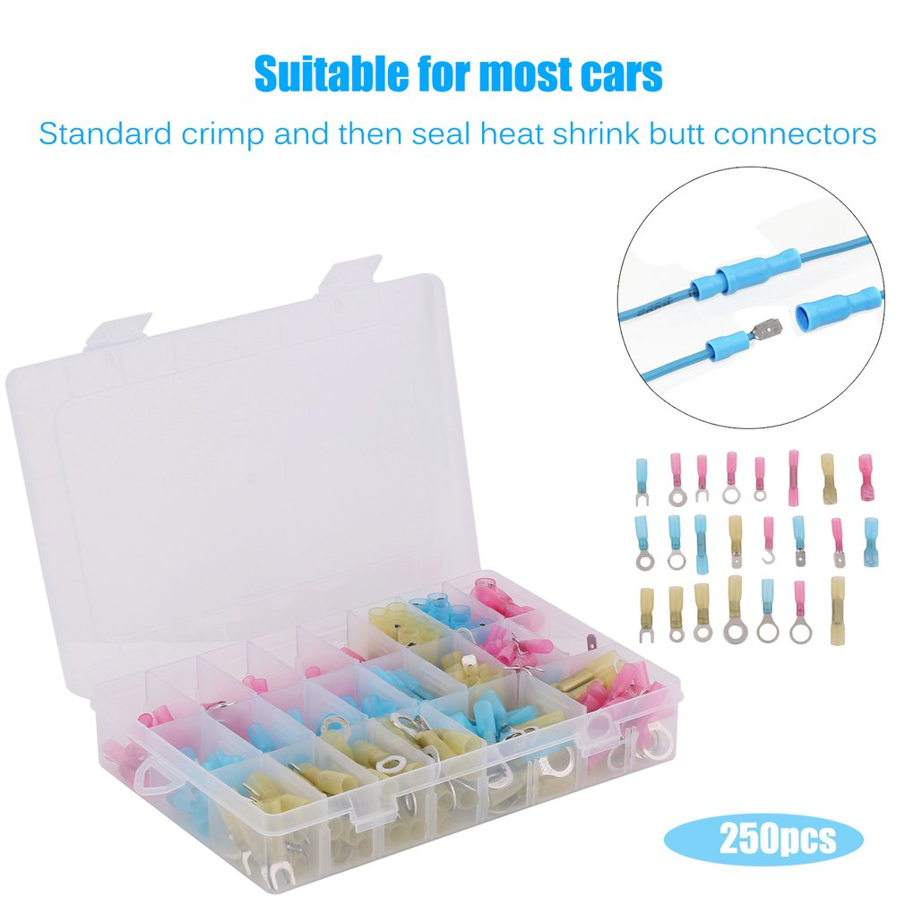 Automotive Wiring Connector Kits Electrical Diagrams Wire Harness Heat Shrink Kit 250pcs Waterproof Marine Supplies