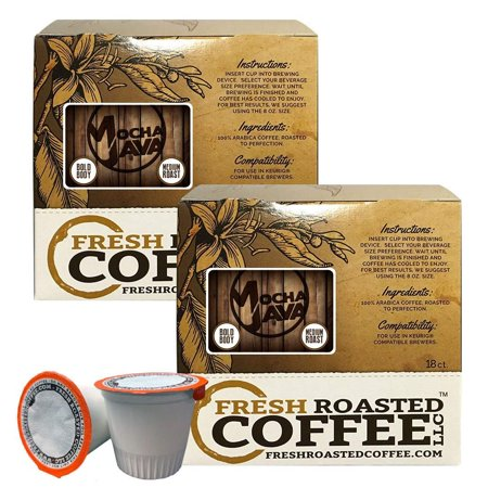 Fresh Roasted Coffee LLC, Mocha Java Coffee Pods, Medium Roast, Artisan Blend, Capsules Compatible with 1.0 & 2.0 Single-Serve Brewers, 36 Count