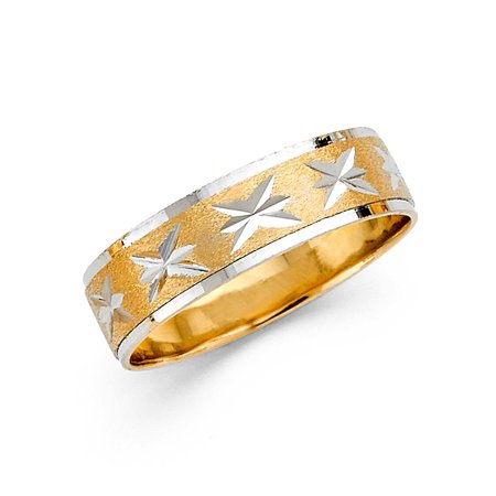 Wedding Band Solid 14k Yellow White Gold Ring Diamond Cut Star Sand Polished Two Tone 6 (Two Tone Diamond Star)