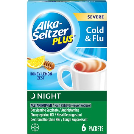 Alka-Seltzer Plus Night Severe Cold & Flu, Honey Lemon Fast Relief Mix-In Packets, 6 Count
