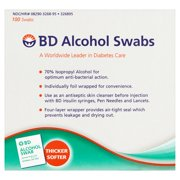 Beckton & Dickenson w/Antiseptic & Individually Foil Wrapped Alcohol Swabs, 100 ct