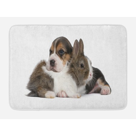 Beagle Bath Mat, Pets Rabbit and Puppy Animal Kingdom Friendship Best Companions Bunny Picture, Non-Slip Plush Mat Bathroom Kitchen Laundry Room Decor, 29.5 X 17.5 Inches, Taupe Black White,
