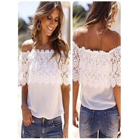 Sexy Women Off Shoulder Casual Tops Blouse Lace Crochet Chiffon Shirt S