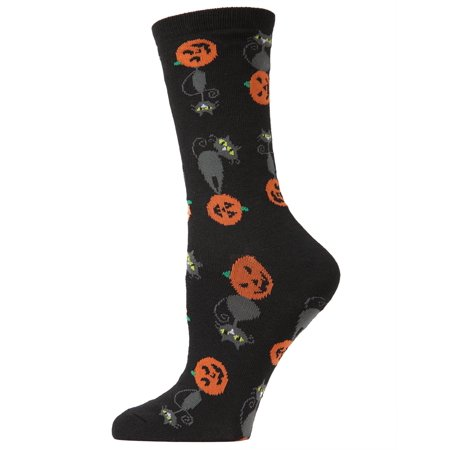 MeMoi Pumpkin Cat Crew Socks | Fun Halloween Novelty Socks One Size 9-11 / Black MF6 1108 - Halloween 911