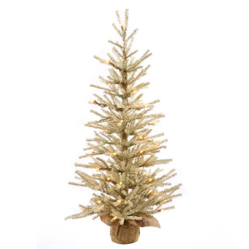 2.5' Pre-Lit Cream Artificial Christmas Tree with Burlap Base - Clear Lights