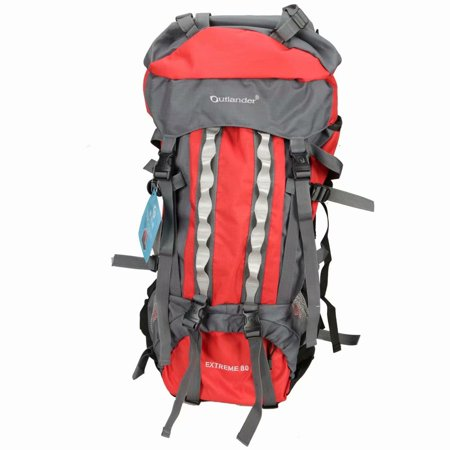 80L Outlander Professional Backpack Shoulders Bag Red & Gray