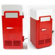 dailooas Portable USB Electric Refrigerator Mini Car Beverage Cooling Fridge (Red)