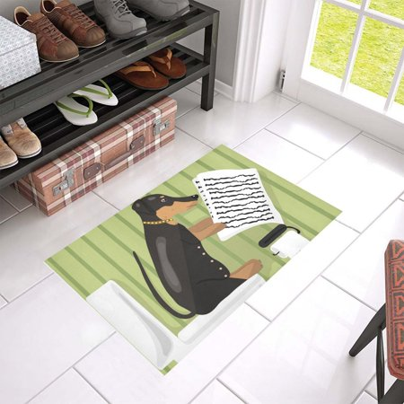 MKHERT Dog Reads News In Restroom Doormat Rug Home Decor Floor Mat Bath Mat 23.6x15.7 - Restroom Floor