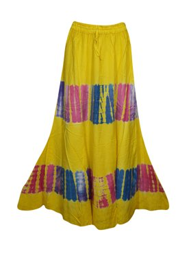 c288ead5df Product Image Mogul Womens Yellow Tie Dye A-Line Gypsy Long Skirt Rayon  Summer Style Hippie Chic