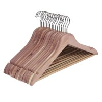 Household Essentials Cedar Wood Thin Hangers with Fixed Bar and Swivel Hook, Pack of 16
