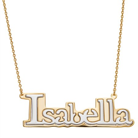 Personalized Planet Jewelry - Personalized Women s Sterling Silver Two-tone  Gold or Rose Gold Name Necklace 80a0bb6c06