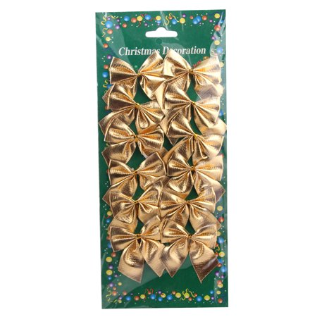 Gold Tone Bow (12 Pcs Mini 6cm Christmas Charms Decoration Ornaments Ribbon Bows Gold )