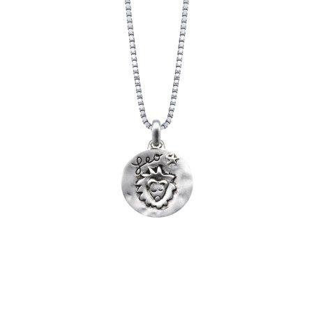 Sterling Silver Zodiac Sign, Leo Reversible Pendant Necklace,