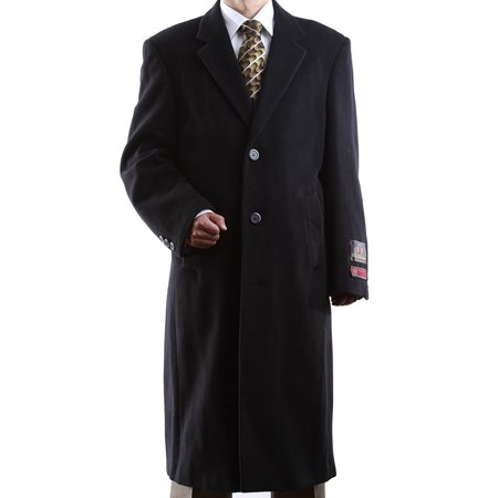 Men's Single Breasted Black Wool Cashmere Full Length Topcoat Size Short 42