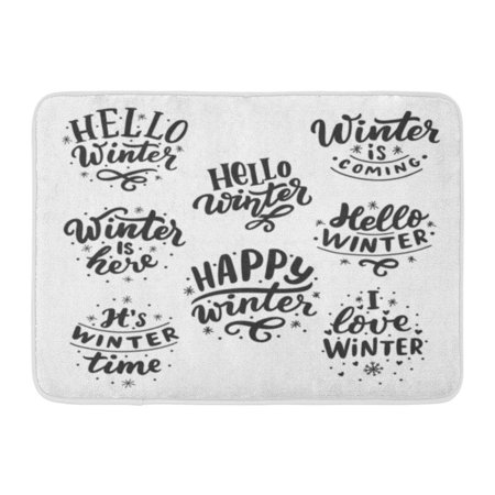 GODPOK Happy Black Cold Lettering with Phrases Hello Winter Love It