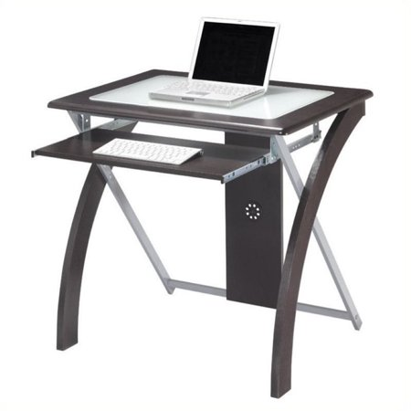 Scranton & Co Computer Desk with Silver Accents in Espresso - image 2 of 2