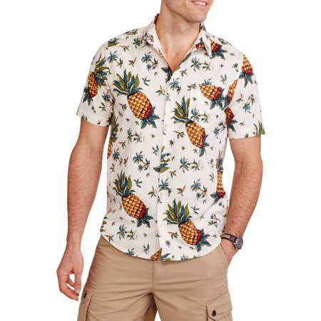 Straight Faded Men 39 S Short Sleeve Woven Pineapple Print