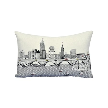 Beyond Cushions Cleveland Ohio Daytime Skyline Prince Size Embroidered - Halloween Stores In Cleveland Ohio