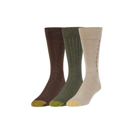 Gold Toe Men's Moisture Control Classic Dress Crew Socks, 3 Pairs