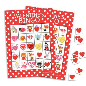 Bingo Game Cards (Valentines Day Bingo for 24 Players - Valentines Party Kids Game - 24 Bingo Cards with Player)