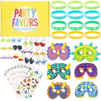 60 Pieces Dinosaur Party Favor Bundle Pack Set Kit Includes Silicone Key Chains Rings Bracelets Stickers Foam Masks for Kids Birthday Costume Parties School Educational Events