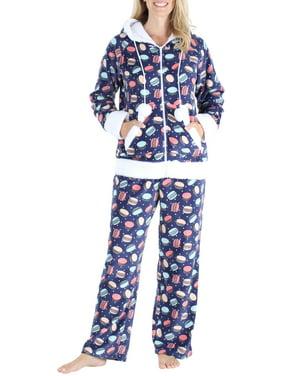 Frankie & Johnny Women's Sleepwear Fleece 2-Piece Zip Hoodie and Pant Loungewear Pajamas