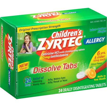 Children's Zyrtec Allergy Relief Dissolving Tablets - Cetirizine - Citrus Flavor - 24ct
