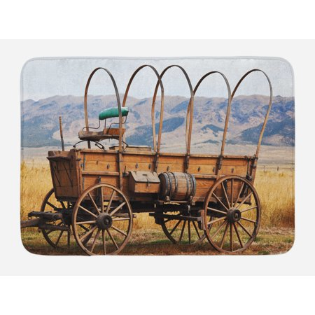 Western Bath Mat, Photo of Old Nostalgic Wild West American Cart Carriage in the Farm Texas Style, Non-Slip Plush Mat Bathroom Kitchen Laundry Room Decor, 29.5 X 17.5 Inches, Brown Yellow, Ambesonne