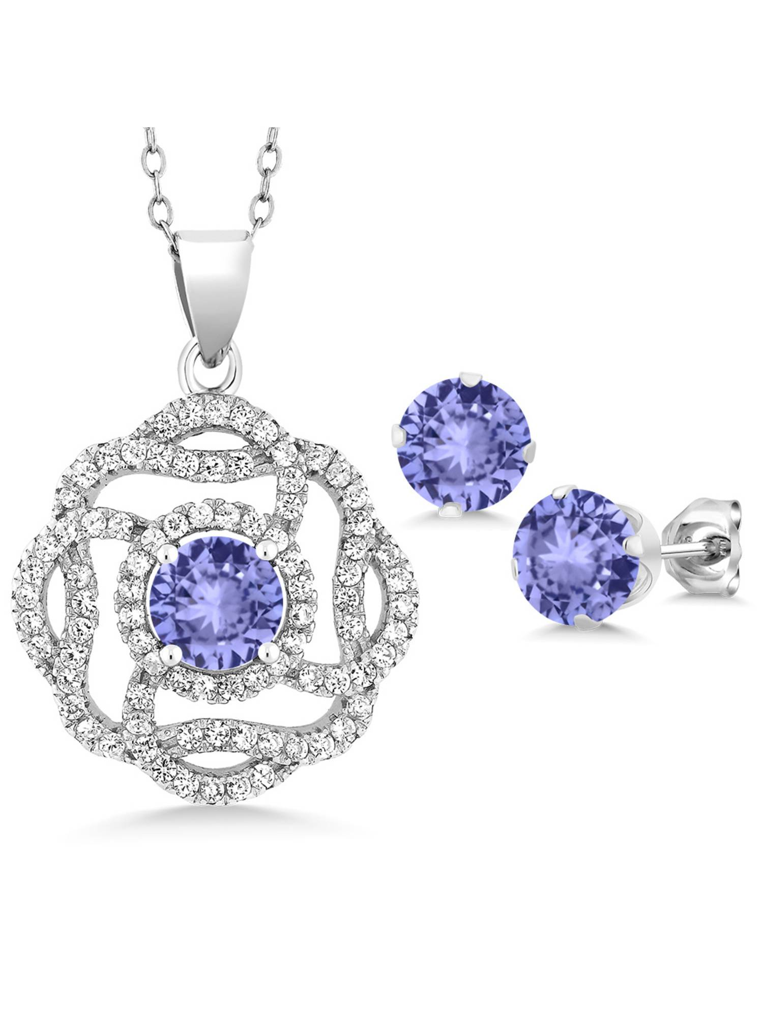 4.76 Ct Round Blue Tanzanite 925 Sterling Silver Pendant Earrings Set by