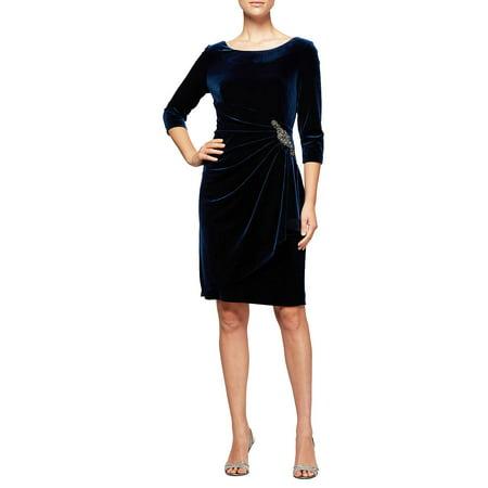 Alex Evenings Sleeveless - Short Ruched Velvet Shift Dress