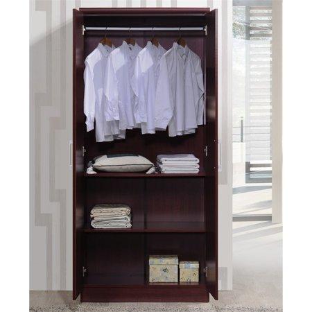 Hodedah 2 Door Armoire with 4 Shelves in Mahogany - image 4 de 6