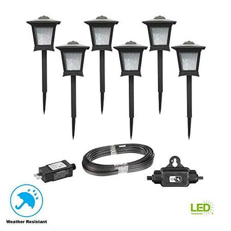 hampton bay hd33678bk low voltage black outdoor integrated led landscape path light 6 pack kit