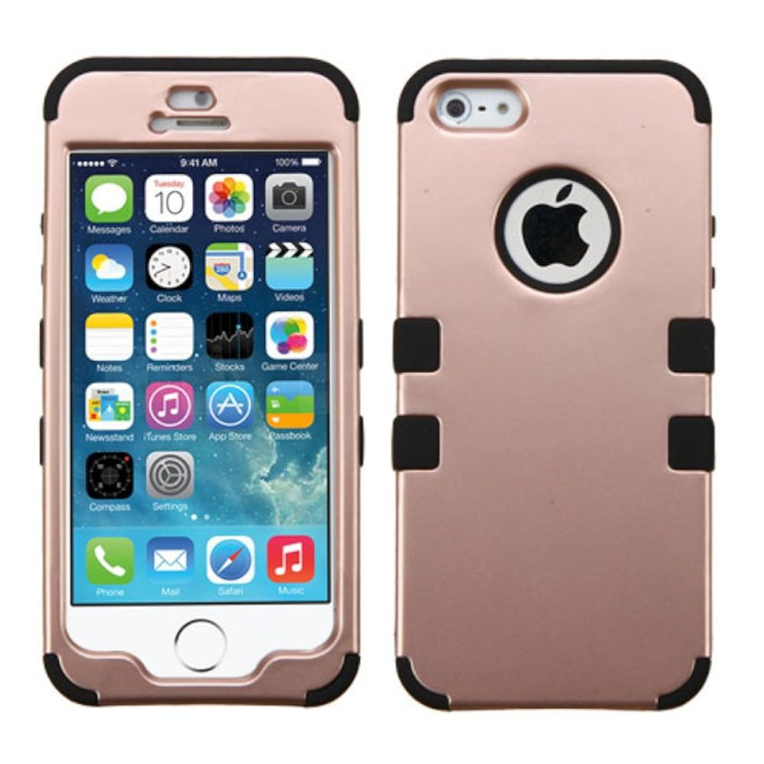 Insten Tuff Hard Dual Layer Silicone Cover Case For Apple iPhone SE 5S 5 - Rose Gold/Black