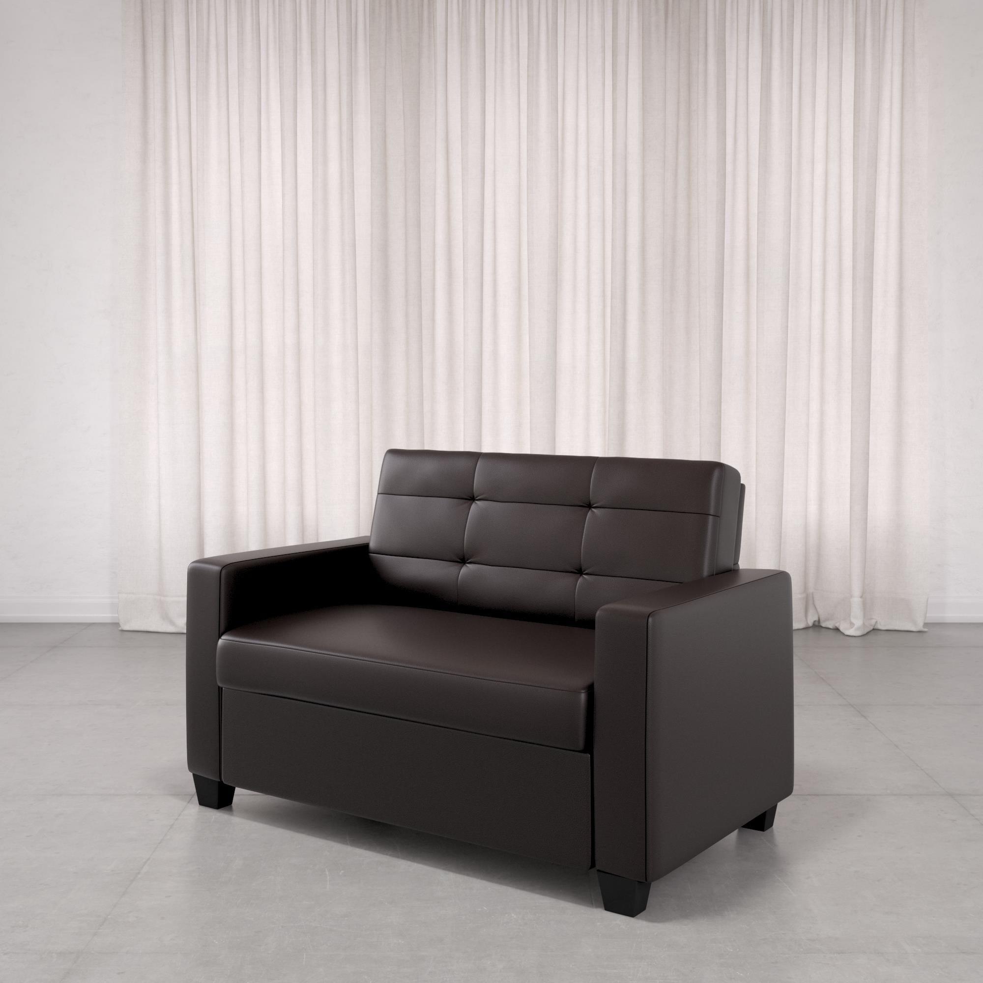 Picture of: Mainstays Loveseat Sleeper Sofa Twin Chocolate Faux Leather Walmart Com Walmart Com