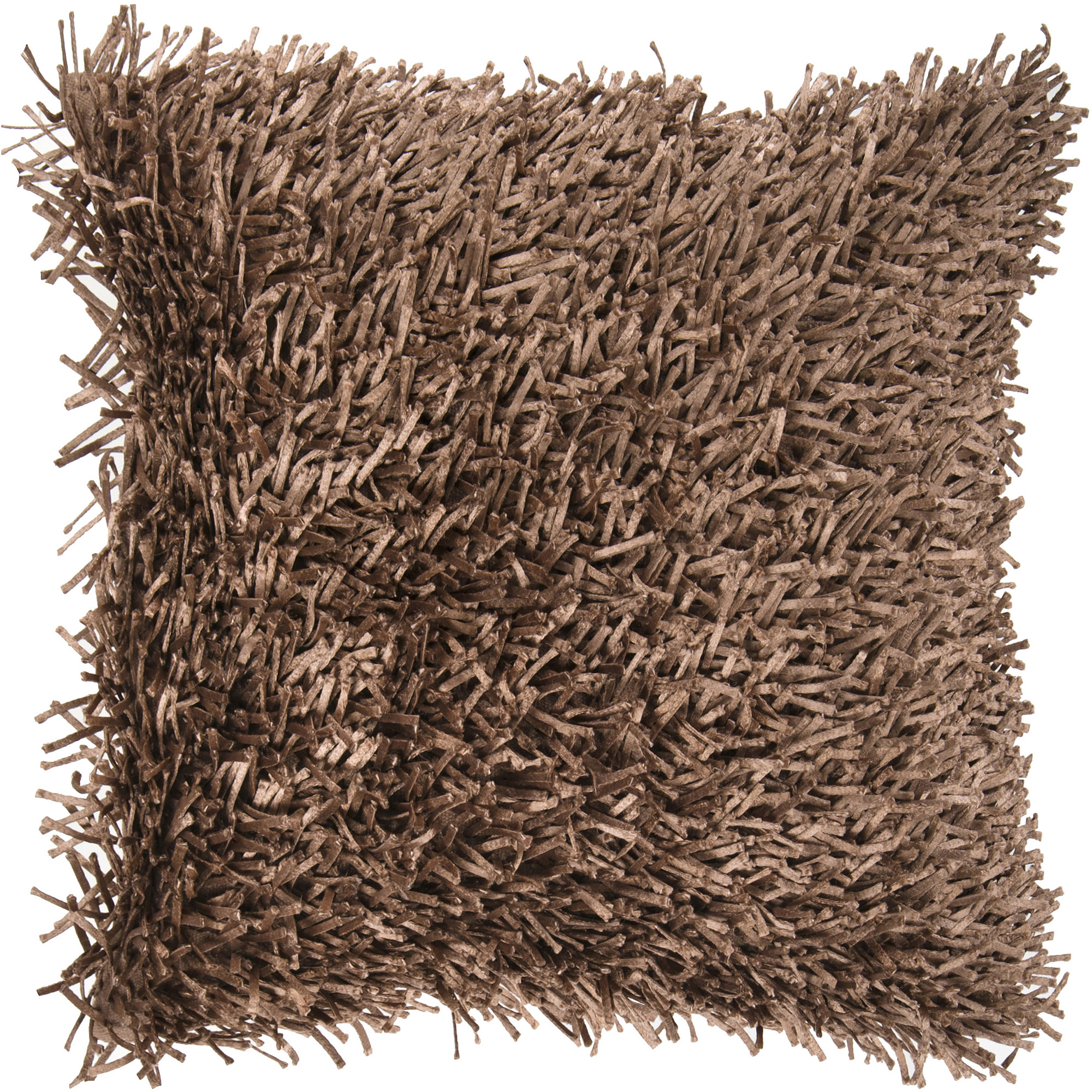Art of Knot Shaggy Texture Hand Crafted Decorative Pillow, Brown