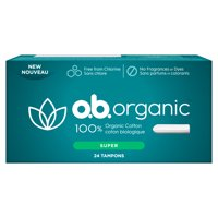 o.b. Organic Applicator-Free Tampons, Unscented, Super, 24 Ct