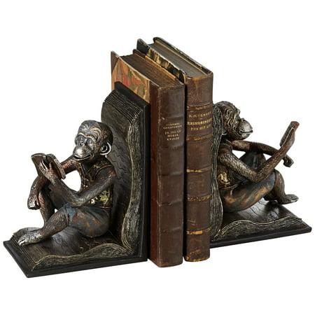 "Kensington Hill Studious Reading Monkeys 7 1/2"" High Bookends Set"