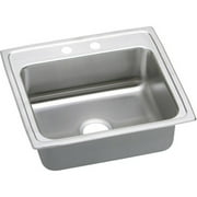 Elkay PSR22192 Gourmet Pacemaker Stainless Steel Single Bowl Top Mount Sink with 2 Faucet Holes