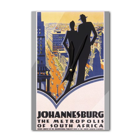 Johannesburg Vintage Poster South Africa (Acrylic Wall Clock) - Date For Halloween In South Africa