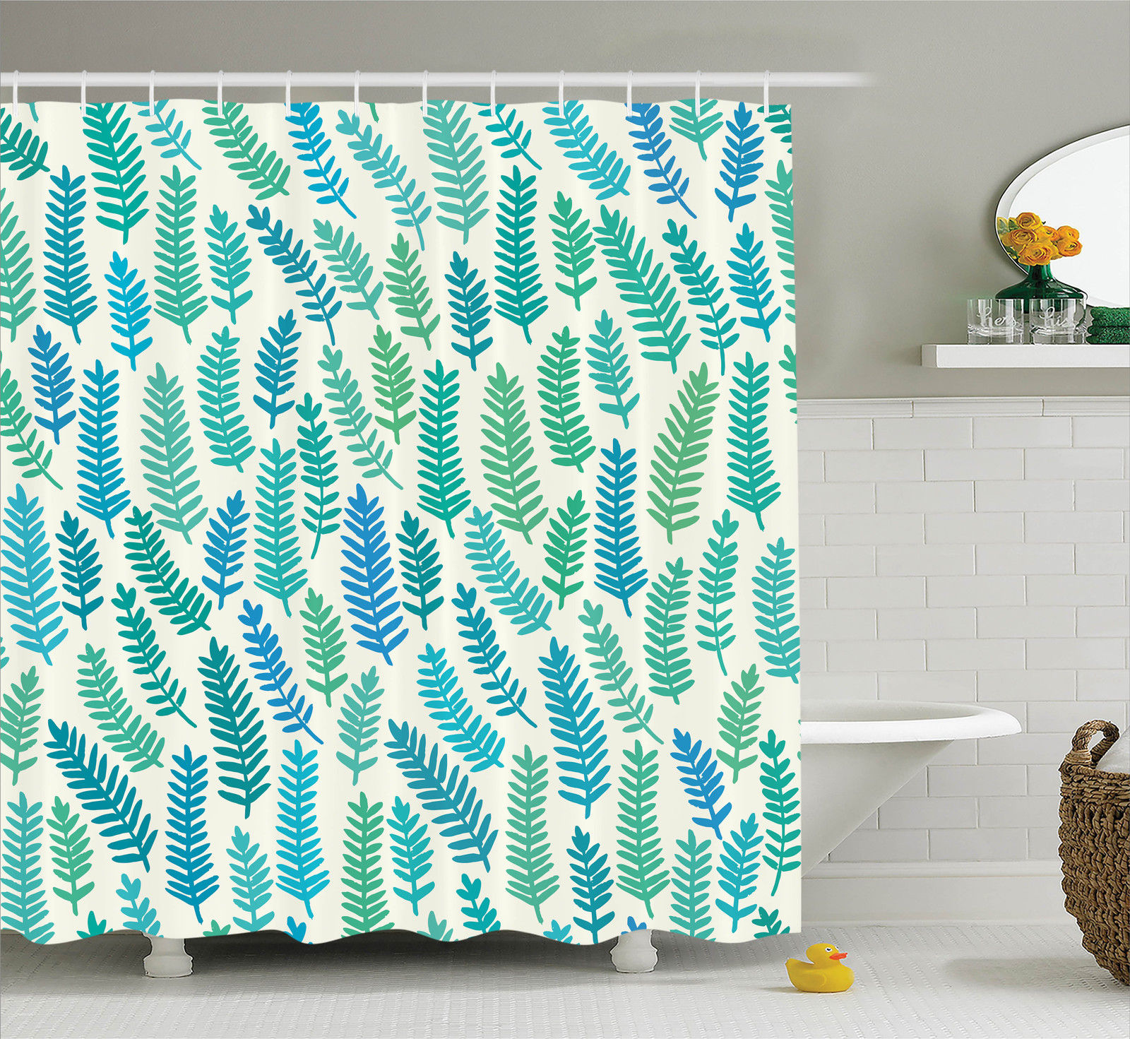 Teal Decor  Leaf Pattern Branch Trees Summer Forest Foliage Fabric Design Style Art Print, Bathroom Accessories, 69W X 84L Inches Extra Long, By Ambesonne