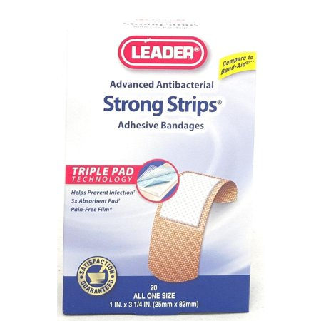Leader Strong Strips Adhesive Bandages 1inX3.25in 20ct 096295124071A115