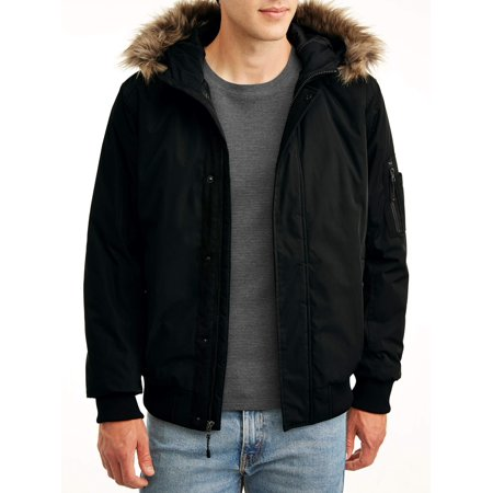 SwissTech Men's and Big Men's Faux Fur Hooded Bomber Parka Jacket, up to size (Parka Coats For Men With Fur Collar)