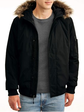 SwissTech Men's and Big Men's Faux Fur Hooded Bomber Parka Jacket, up to size 5xl